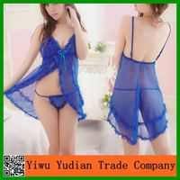 Blue Slik Sleeping Dress Women Sexy Transparent Nighty