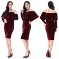 Top Quality Wholesale Off Shoulder Casual Bodycon Evening Red Dresses For Women