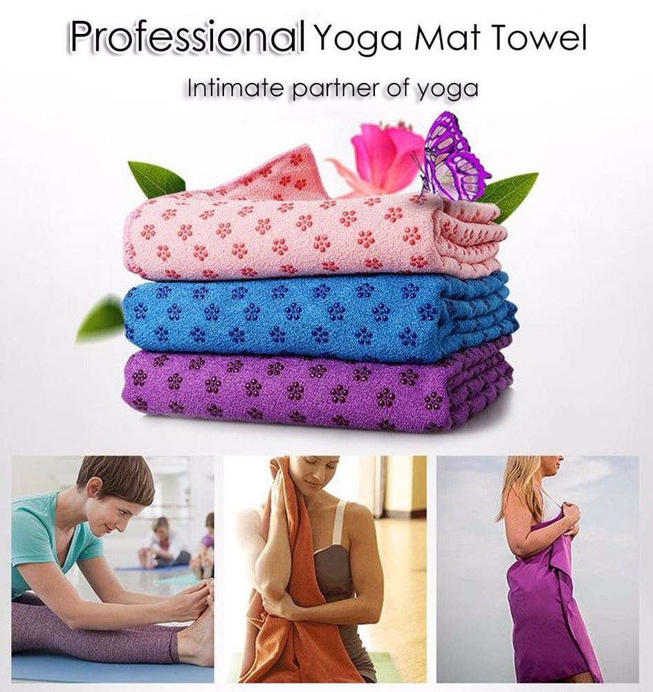 Washable Yoga Towel Pilates Camping Outdoor Non Slip Inline Point Design Mat Cover for Bikram Hot Yoga Fitness Exercise