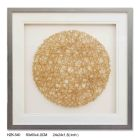 Single Glass grey Frame Abstract golden round mat shadow box