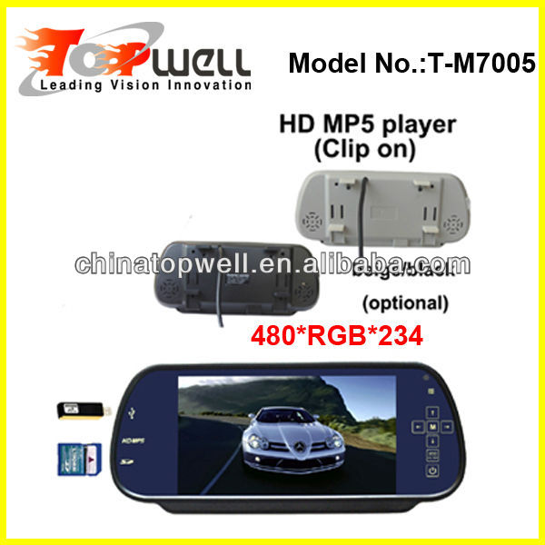 7'' Universal Clip On Touch Buttons 480*RGB*234 Rear View Mirror MP5 Player with SD Card and USB Slot