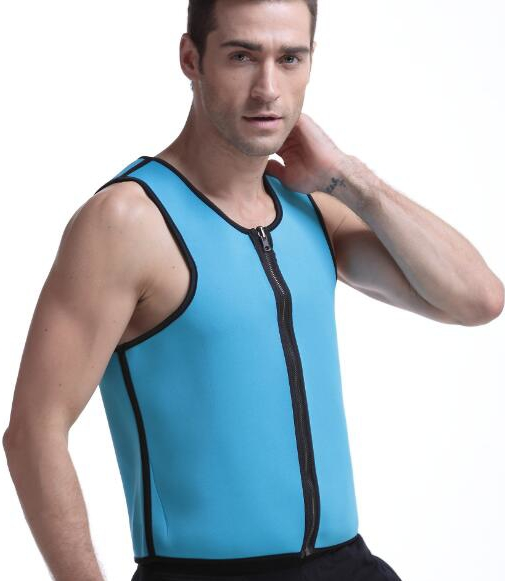 Besung men style neoprene center front zipper corset mens slimming body shaper