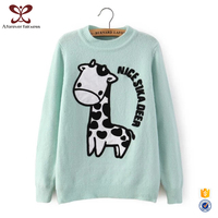 Plain Color Cartoon Pattern Printed Round Neck Pullover Sweater