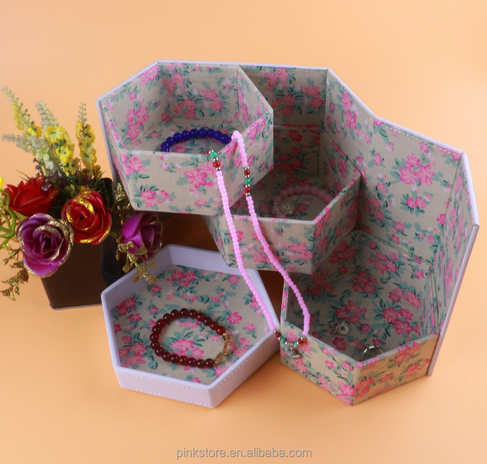 desktop design hexagon fabric tray inserts jewels jewelry keepsake box