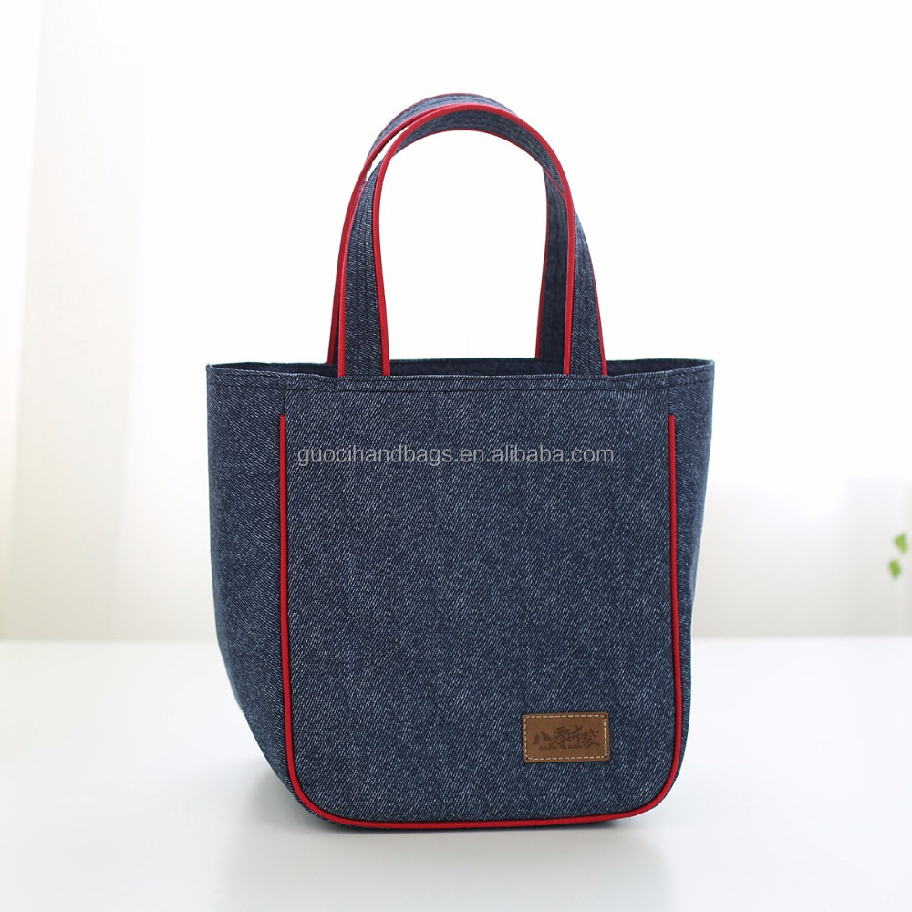 promotional denim cooler bag handle lunch bag