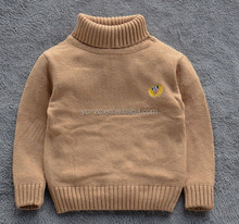 2016 fashion knitted custom design wool cashmere high neck pullover sweater for boys