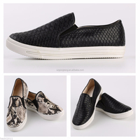 Woman Slip On Serpentine Leather Loafers Flats Sneakers Shoe