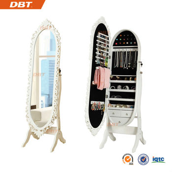 Chinese Wholesale Oval shape mirrored jewelry cabinet standing mirror cabinet floor mirror cabinet