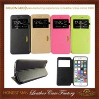 2015 New Style Popular 2015 New Design Customizable Pu For S6 Window Case