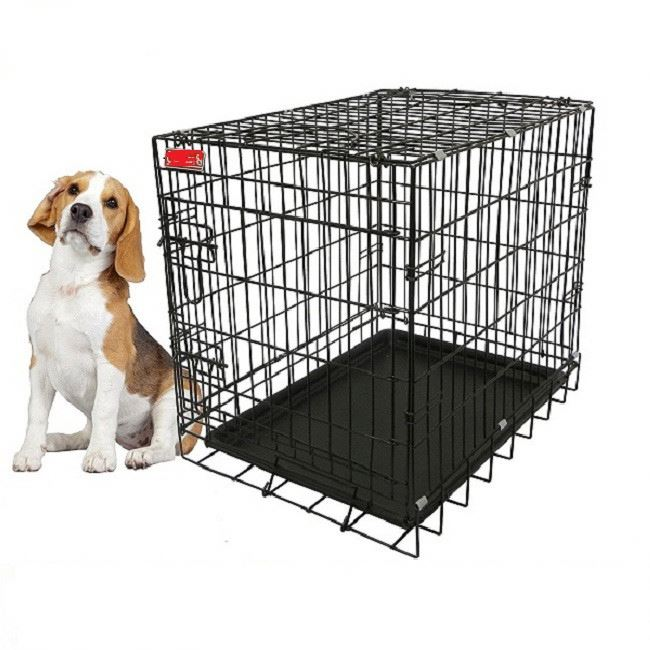 RoblionPet Foldable powder coating steel durable dog cage kennel