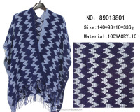 2016 fashion knitted woman cape two color mixed houndstooth stole shawl scarf