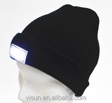 cheap factory price custom logo LED Headlight Lighted Fishing Knitted Beanie Hat Cap