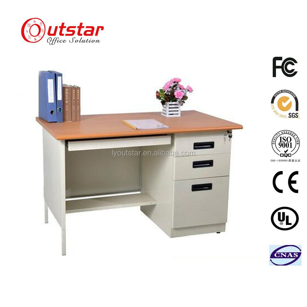 Cheap Office KD Metal Writing Table Steel Computer Desk with Three Drawer