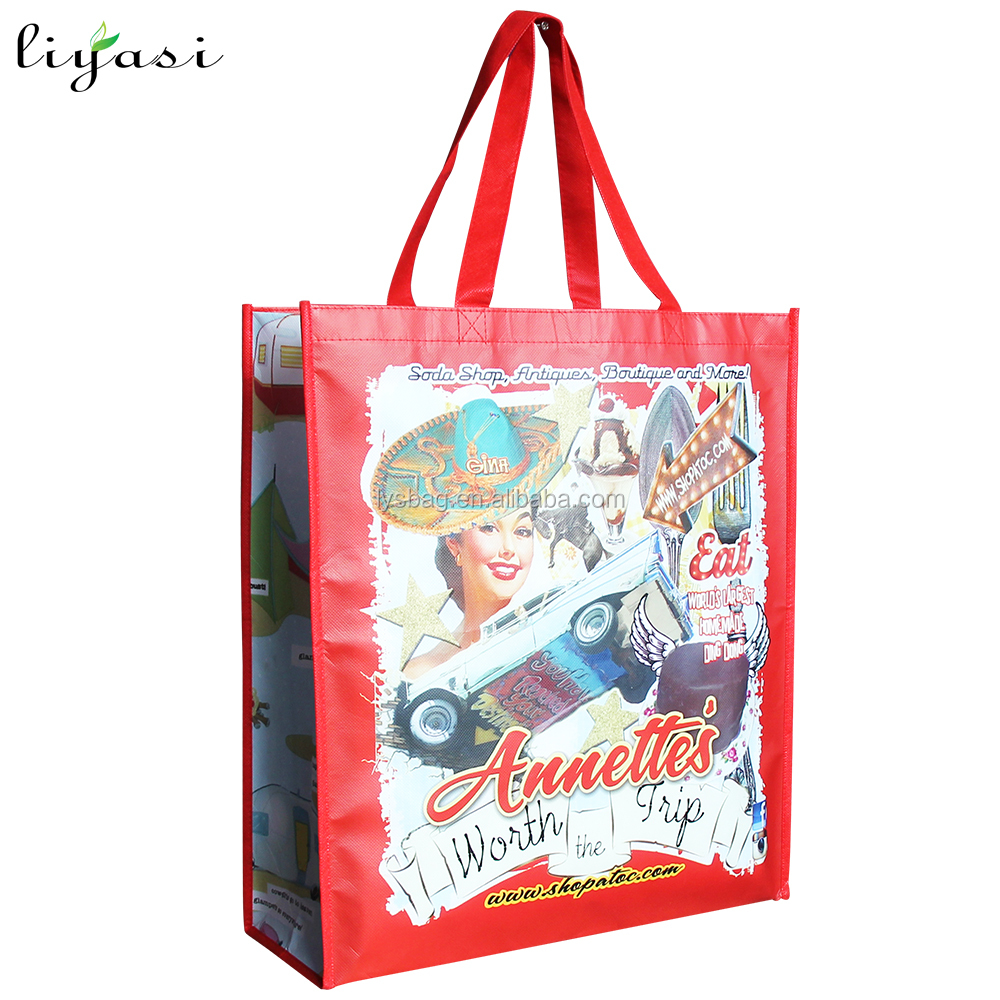 High Quality Big Grocery PP Matt Laminated Nonwoven Bag Waterproof with Double Strong Handle
