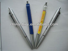 Promotional advertising plastic pull out banner ball pen with Silver spray tip
