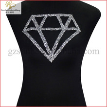 Diamond Design Beaded Crystal Rhinestones Hotfix Applique Patches Iron n Sticker Motif Embellishment Sewing can be customized