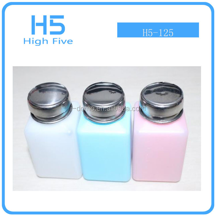 wholesale 100 200 250ml Nail Polish Remover antistatic plastic Alcohol Liquid Press Pumping Dispenser Bottle