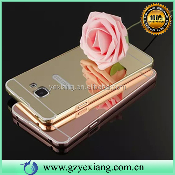 Luxury Golden metal aluminium bumper case mirror pc cover for samsung galaxy note 2 cases