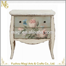 European style home decorative White Flower Vintage Wood Cabinet With 5 Drawer