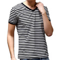 OEM Men's V-Neck Tee Fit Striped T Shirt Fashion Tee Short sleeve Tee 95% cotton 5% Spandex T shirt