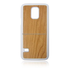 Rubber bottom wooden cases for samsung S5 mini, wholesale natural wood + pc cell phone covers for galaxy s5 mini