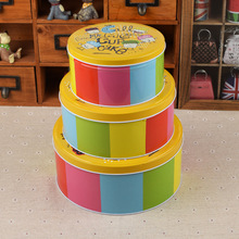 Round Shaped Biscuit Tin Box With Three Sets