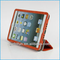 orange semi-enclosed smart leather protective case for ipad mini