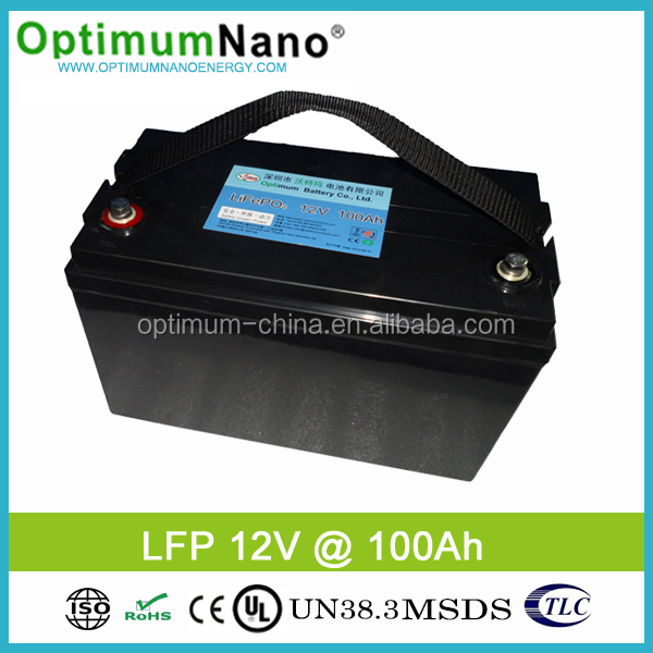 OptimumNano 12v 100ah lifepo4 battery pack for Solar System Energy