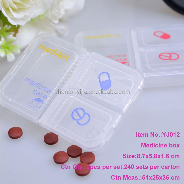 Plastic Rectangle Pill Case With 3 Grids Medicine Box