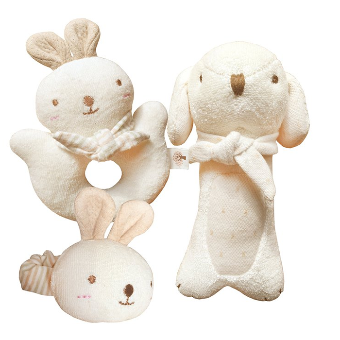 Plush Puppy & Bunny Rattle 100% Organic Cotton Stuffed animal No Dyeing Baby toy
