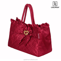 foldable customized ladies stylish handbag wholesale satin leisure bags with big bowknot
