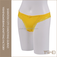 Cheap yellow sexy v-string cotton briefs comfortable girls fancy panty