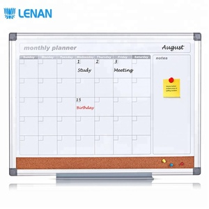 2018 New 3 in 1 Weekly/Monthly Combination Planning Calendar 3/4 Magnetic Dry Erase Whiteboard 1/4 Pin Cork Notice Planner Board