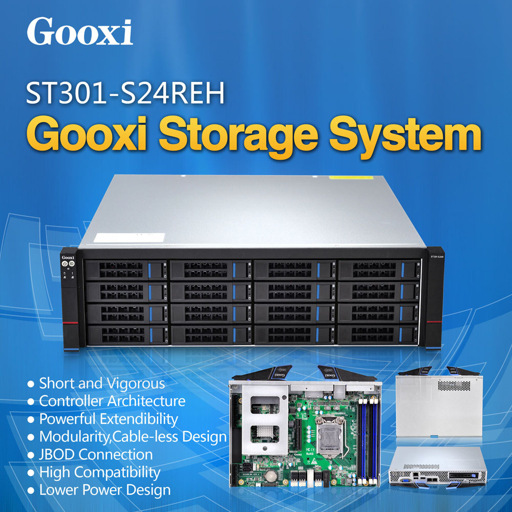 Gooxi ST301-S24REH JBOD Hot-swap Xeon E3 V3 chassis shenzhen motherboard hight density 3U 24 bay storage server