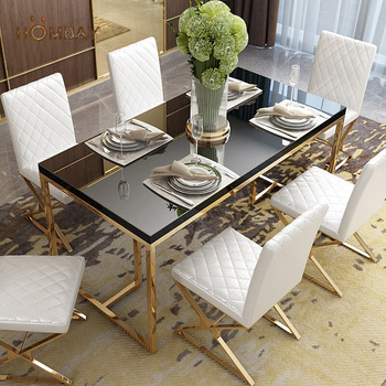 Elegant metal glass dining table double layer dinning set room furniture