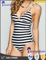 Women's fashion stripe hjgh cut one piece swimwear.