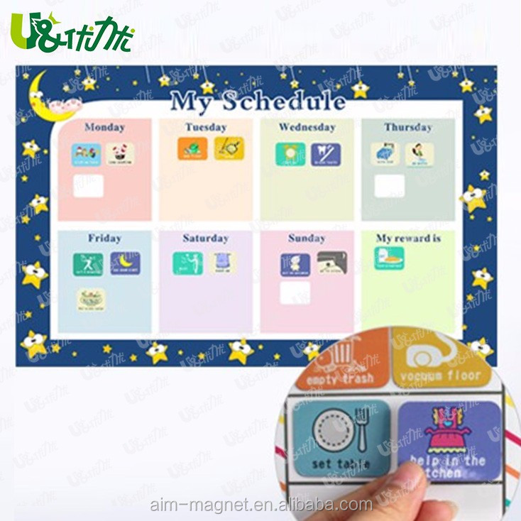 Magnet Chores Chart Weekly Calendar Custom Design Kids Dry Erase Board PET Film
