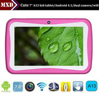 cheapest 7 inch kid tablet pc allwinner A13 dual camera WIFI 512MB/4GB android 4.2