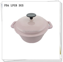 Pink enamel coated cast iron cookware