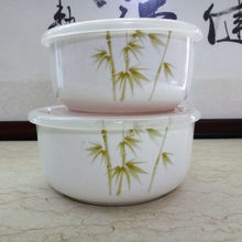 Bamboo decal printed microwavable tableware ceramics preservation bowl with plastic lid