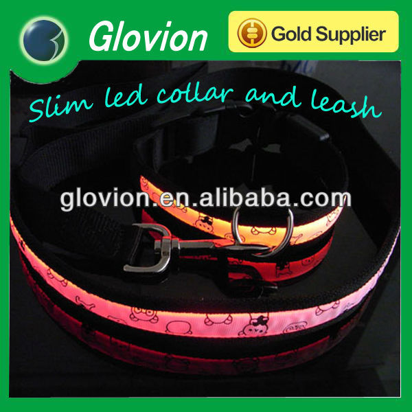 Chiwawa size led collar and leash,Glowing Dog strap pet collars blinking in darkness with little bear