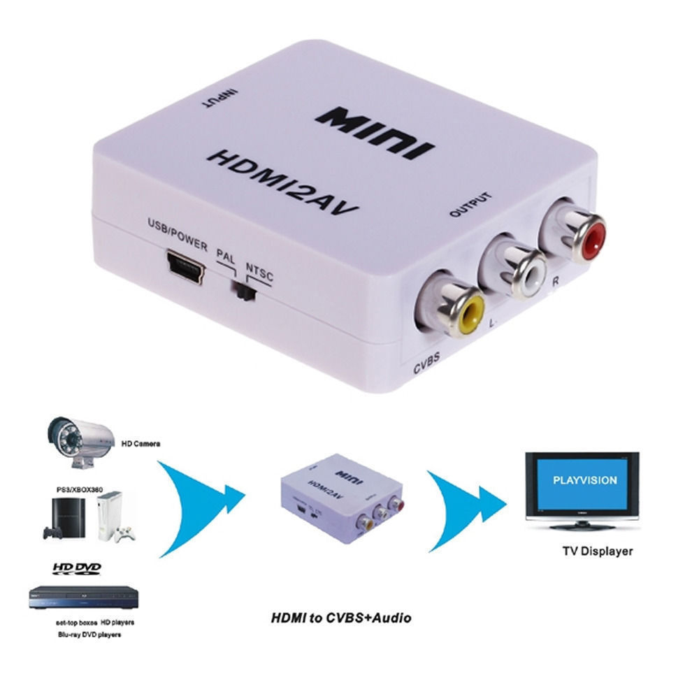 HD Video Converter Box to RCA AV/CVBS L/<strong>R</strong> <strong>1080P</strong> HDMI2AV Adapter NTSC PAL TV White