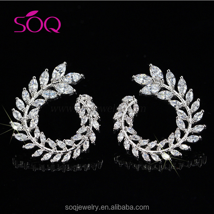 Fashionable Wholesale 925 Sterling Silver CZ Crystal Earring Hidden Camera Women's Olive Leaf Earrings
