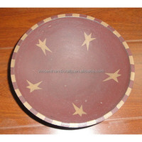 Rustic country primitive round wooden bowl with star patterns for home decoration