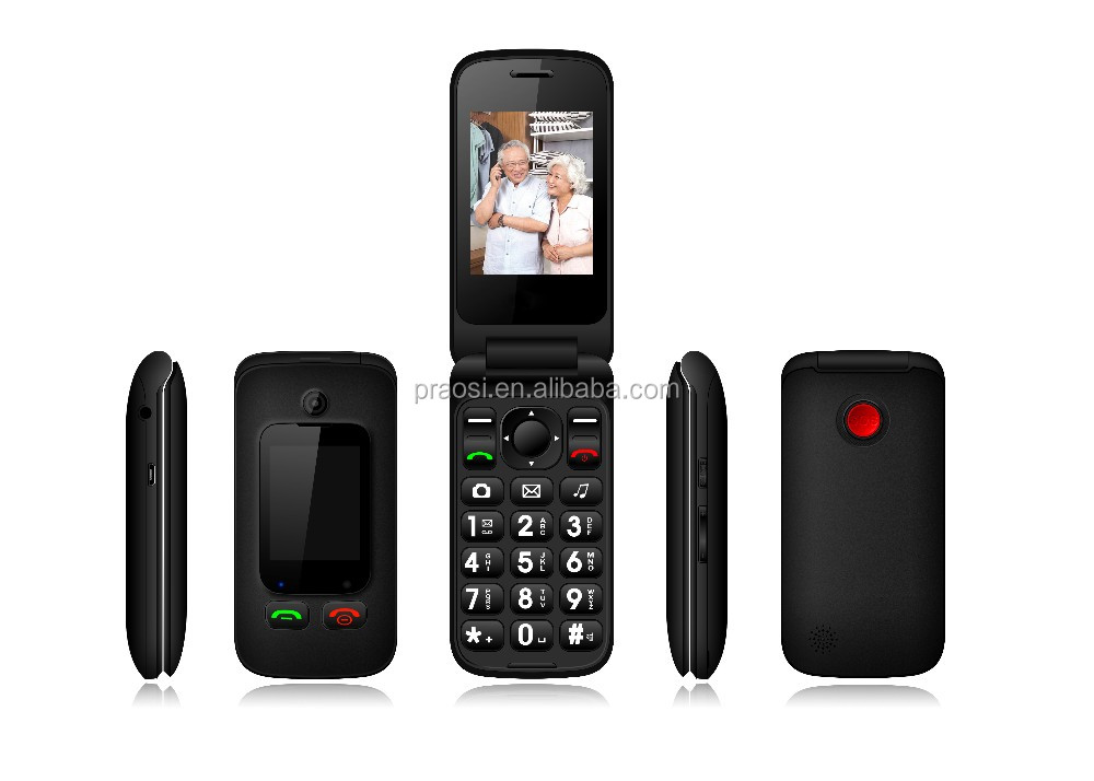 Cheapest senior unlock cell phone 2 sim card / quadband / bluetooth SOS the elder mobile phone