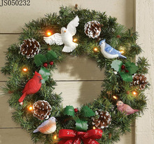 Christmas wreath hanging with bird, pine cone and bow tie decoration, with 10 led lights
