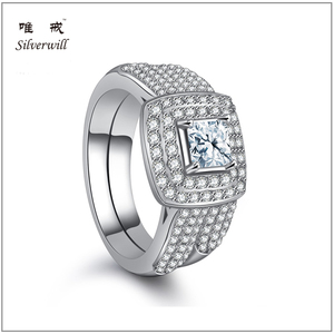 Trendy Brilliant CZ Diamond Women Pure Silver 925 silver rings wholesale with 6 rows clear CZ