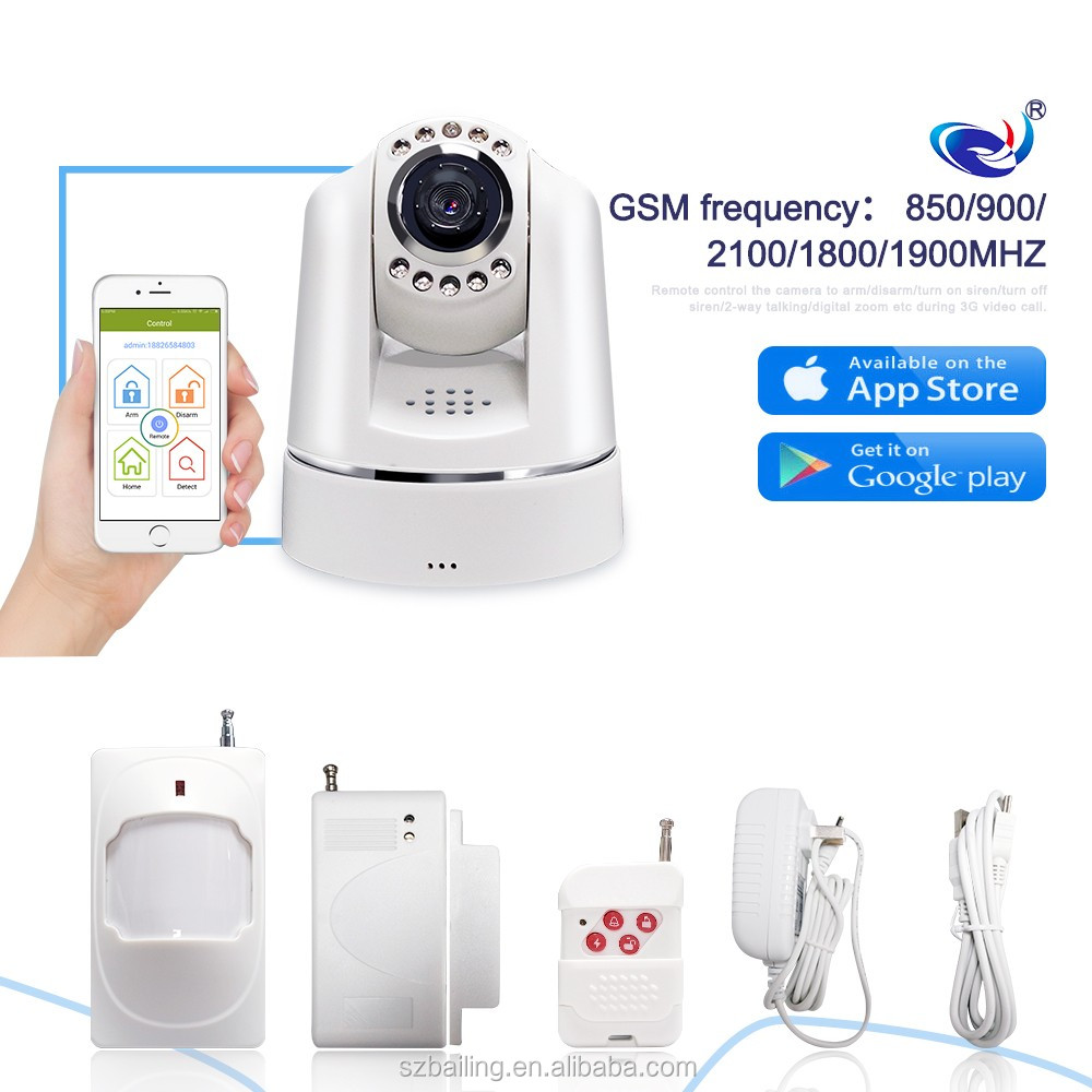 Video call Wireless Intruder 3G GSM Alarm System Home security Camera Alarm System with APP control for house safe