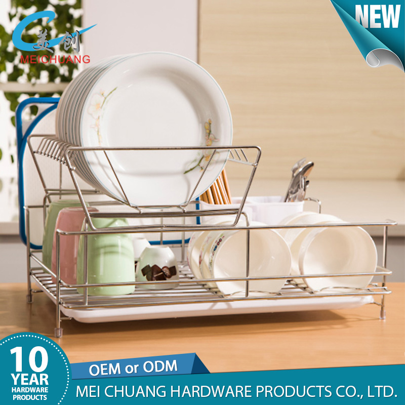 Portable 304 stainless steel detachable two tier dish rack