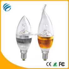 2014 New Products 5w aluminum led candle light/ High quality 3w e14 led candle light bulbs IP54 with 3 years warranty